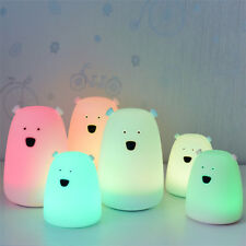 Night Bear Led Light Baby Kids Nursery Child Room Decor Lamp Sensor Touch 7 mode
