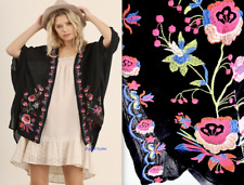 Umgee USA SM ML Black Floral Embroidered Kimono New Boho Open Front Cardigan NWT