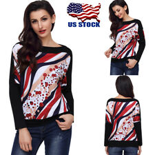 Plus Size Womens Long Bat Sleeves Pullover Batwing Tops Jumper Autumn Blouse USA