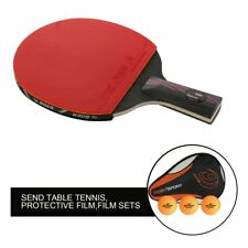 1 PC Rubber Carbon Fiber Table Tennis Racket Bat With Bag Ping Pong Paddle EY
