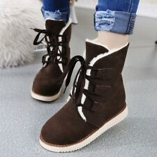 Winter Warm Womens Snow Shoes Low Heels Lace Up Lined Comfy Flats Ankle Boots