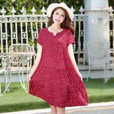 Women Printed Pattern V-Neck Short Sleeve Knee-length Dress Plus Size