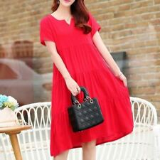 Women Red Color V-Neck Short Sleeve Knee-length Dress Plus Size
