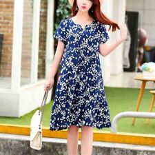 Women V-Neck Short Sleeve Printed Pattern Knee-length Dress Plus Size