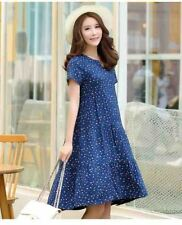 Women Solid Color Printed V-Neck Short Sleeve Knee-length Dress Plus Size