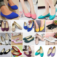 Womens Suede Leather Ballet Dolly Pumps Slip On Flats Boat Shoes Casual Loafers