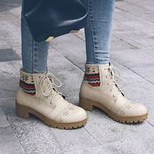 Retro Womens Casual Lace Up Carved Chunky Heels Ankle Boots Oxfords Shoes