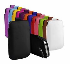 "For Alcatel Lume (4"") Protective Faux Leather Pull Tab Pouch Case Cover"