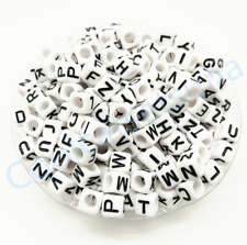 50Pcs White Cube ALPHABET SPACER LOOSE BEADS Acrylic 6mm SINGLE LETTER A-Z