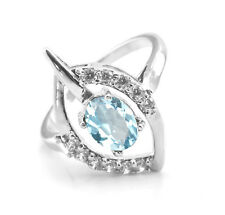 925 Sterling Silver Ring with Blue Topaz Natural Oval Gemstone Handmade India