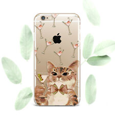 Cute Martini Cat Design Silicone Soft Rubber Case Cover Back For Apple iPhone