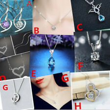Women 925 Sterling Silver Crystal Charm Necklace Pendant Clavicle Neck Jewelry