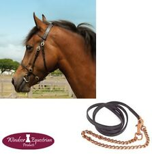 Windsor In-Hand Showing Bridle and Lead – BLACK HAVANA – Shetland/Pony/Cob/Full