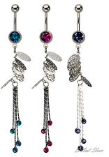 Belly Button Piercing Silver Navel Piercing Stud Pendant Chains Crystal