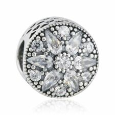 Genuine sterling silver Radiant Bloom Flower charm Beads Clear CZ charms