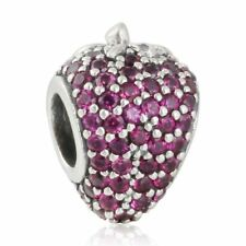 Solid Sterling Silver Charms beads Pave Strawberry with Red Cz Charm bead