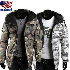 Men Zipper Hoodie Sweatshirt Open Outwear Casual Camouflage Slim Fit Jacket Coat