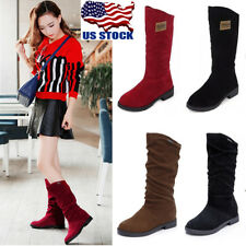 US Womens Cute Round Toe Mid-Calf Knee High Comfy Flat Heel Boots Shoes Size 4-8