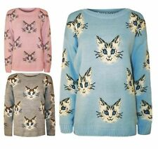 Womens Multi Cat Faces Printed Knitted Warm Top Ladies Stylish Jumper Sweater
