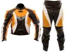 ORANGE-MOTORCYCLE LEATHER SUIT MOTORBIKE RACING MEN BIKER SUIT JACKET TROUSER
