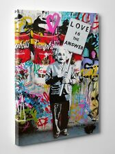 Banksy Graffiti Love Is The Answer Albert Einstein Canvas Print Ready To Hang