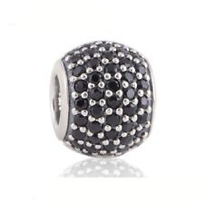authentic Silver Screw Core Charm Beads with Black Rhinestone Crystal Bead