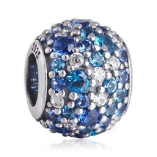 authentic 925 sterling silver Mixed Pave CZ Blue Charm with clear cz charm beads
