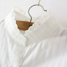 Women Lace Stand Collar Ruffle Shirt Long Sleeve Cotton Slim Hollow Out Blouse