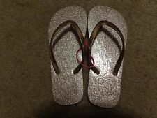 aeropostale kids ps girls' SHIMMER FLIP FLOPS SHINY GOLD NWT