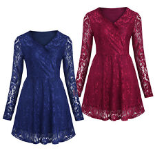 Women's Long Sleeve V Neck A Line Lace Sexy Flower Tunic Dresses Tops Party Gown