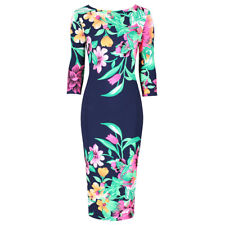 Navy Multi Floral Print 3/4 Sleeve Bodycon Pencil Wiggle Dress