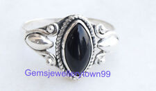 925 STERLING SILVER BLACK ONYX RING STONE GEMSTONE RING ANY SIZE R2BO