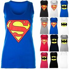 Ladies Womens Racer Muscle Back Sleeveless Top Batman Superman Vest T Shirt