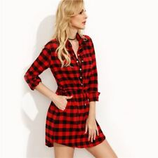 Women Red Color Plaid Waist Long Sleeve Front Button Casual Shirt Dress