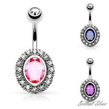 Belly Button Piercing Navel Piercing Stud Crystals White Pink Blue & Purple