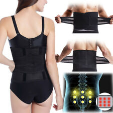 Magnetic Double Pull Lumbar Support Lower Waist Back Belt Brace Pain Relief Slim