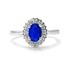 925 Sterling Silver Ring with Blue Sapphire Natural Gemstone Oval handmade eBay