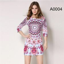 Women Fashion Vintage Printed Pinup Casual Party Bodycon Dress PN674