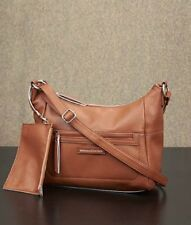 Leather Handbag Hobo Purse and Zip Pouch Adjustable Strap Interior Pockets Lined