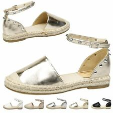 Andrea Womens Flats Low Heels Studded Ankle Strap Espadrilles Ladies Shoes Size
