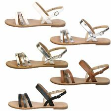 Lulu Womens Flats Low Heels Strappy Sandals Open Toe Ladies Summer Shoes Size