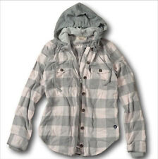NWT Hollister by Abercrombie&Fitch Hooded Flannel Shirt Jacket Plaid Cotton XS