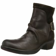 Fly London Mel Dark Brown Womens Leather Zipper Mid Heel Western Ankle Boots