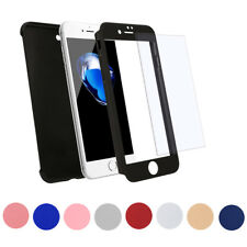 360 Hybrid Case Hard Ultra thin Cover + Tempered Glass For Apple iPhone 8 8 Plus