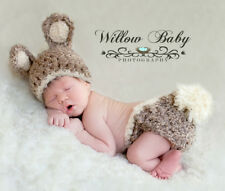 Handmade Baby Bunny Hat & Diaper Cover Chunky Tan/Grey/Cream & Fluffy Tail Clip