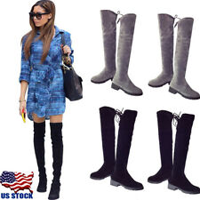 US Women Warm Classics Flat Low Heel Over The Knee High Stretch Suede Boots Size
