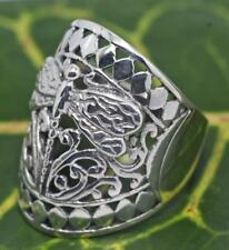Handmade Solid Sterling Silver.925 Bali Wide Bad Ring w Dragonfly Design.