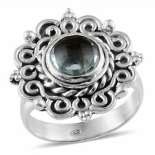 Artisan Crafted SKY BLUE TOPAZ Checker Faceted RING in Sterling Silver 2.32 Cts.
