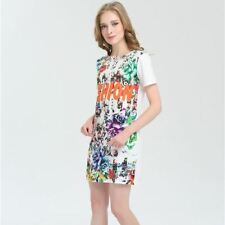 Women Summer Casual Short Sleeve O-neck Floral Printed Midi Dress