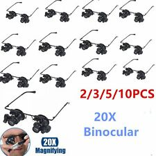 5/10PC 20X Glasses Type Binocular Magnifier Watch Repair Tool with Two LED Light